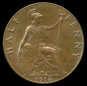 World Coins - 1914 Great Britain 1/2 Penny AU