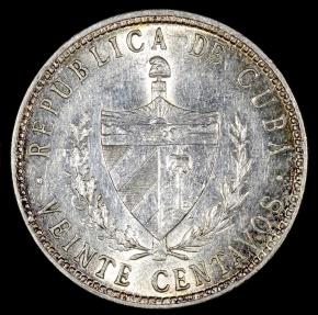 World Coins - 1949 Cuba 20 Centavos UNC