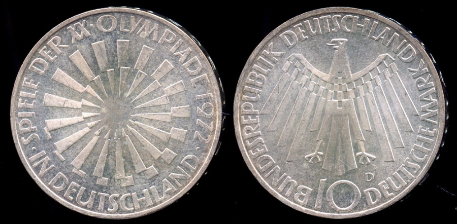"World Coins - 1972 D Germany - Federal Republic 10 Mark ""Munich Olympics"" Silver Commemorative BU"