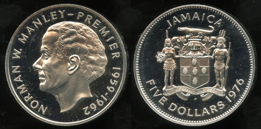 World Coins - 1976 FM Jamaica 5 Dollars - Norman Manley Silver Commemorative - Cameo Proof