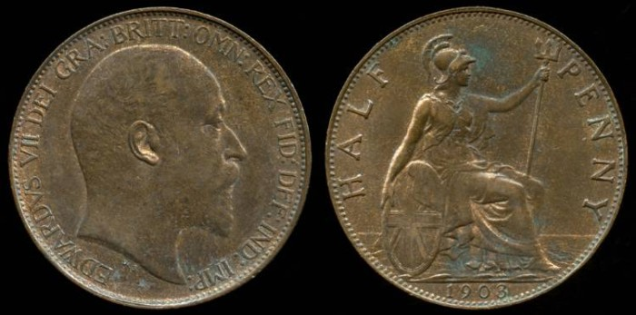 World Coins - 1903 Great Britain 1/2 Penny AU