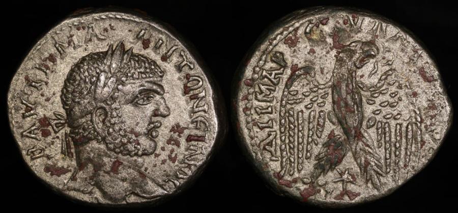 Ancient Coins - Caracalla Tetradrachm - Eagle Standing - Laodicia ad Mare