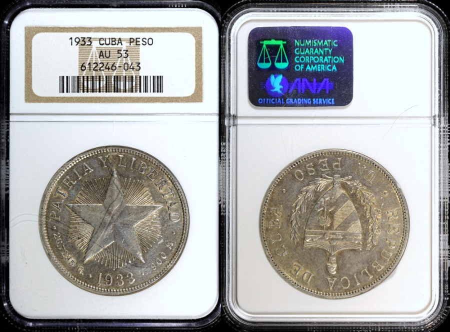 "World Coins - 1933 Cuba 1 Peso - ""Star Peso"" NGC AU53"