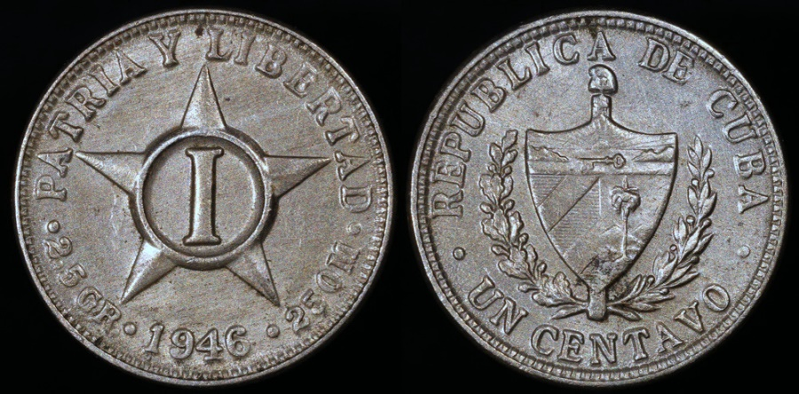 World Coins - 1946 Cuba 1 Centavo - 1st Republic - UNC
