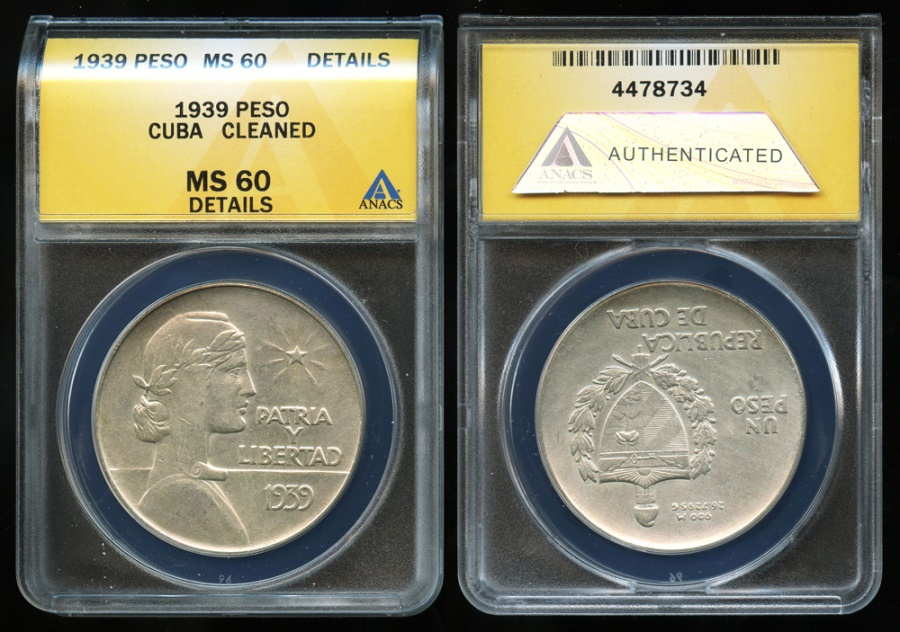 "World Coins - 1939 Cuba 1 Peso - ""ABC Peso"" ANACS MS60"