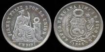 World Coins - 1866 YB Peru 1 Dinero VF