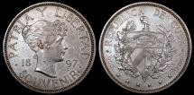 """World Coins - 1897 Cuba 1 Peso - """"Souvenir Peso"""" X-M2 - AU (Only 4,286 Pieces Were Struck) Very Scarce in this Condition!"""