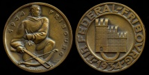 "World Coins - 1934  Switzerland - Fribourg ""Tir Federal"" crossbow archery contest medal by Willy Jordan"