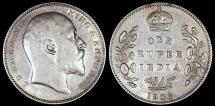 World Coins - 1906 C India (British) 1 Rupee - Edward VII - AU Silver