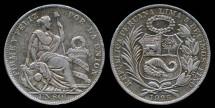World Coins - 1925 Peru 1 Sol XF