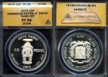 """World Coins - 1975 Dominican Republic 10 Pesos - """"Mina Pueblo Viejo Taino Art"""" Silver Commemorative - ANACS PF66 Deep Cameo"""