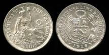 World Coins - 1916 FG Peru 1/2 Dinero BU