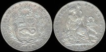 World Coins - 1889 TF Peru Sol XF
