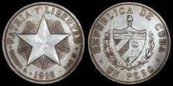 "World Coins - 1916 Cuba 1 Peso ""Star Peso"" AU"