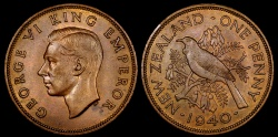 World Coins - 1940 New Zealand 1 Penny AU