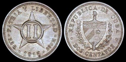 World Coins - 1915 Cuba 2 Centavos - 1st Republic - UNC