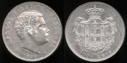 World Coins - 1899 Portugal 1000 Reis - Carlos I - AU