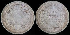 World Coins - 1881 PTS-FE Bolivia 10 Centavos - XF Silver