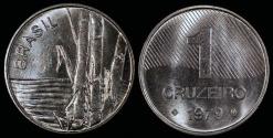 "World Coins - 1979 Brazil 1 Cruzeiro - FAO ""Sugar Cane"" - BU"