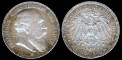 World Coins - 1902 G Daden (German State) 5 Mark AU
