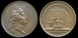 World Coins - 1666  France - Louis XIV - Founding of the City and Arsenal at Port of Rochet by Jean Mauger