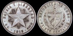 World Coins - 1916 Cuba 20 Centavo - 1st Republic - XF