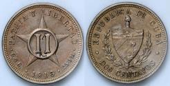 World Coins - 1916 Cuba 2 Centavos - 1st Republic - AU
