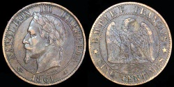 World Coins - 1861 A France 5 Centimes - Napoleon III - XF