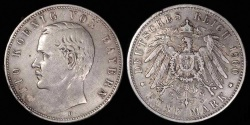 World Coins - 1900 D Germany - Bavaria 5 Mark - Otto Koenig - XF Silver