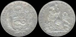 World Coins - 1889 TF Peru Sol XF
