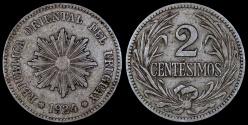 World Coins - 1924 (p) Uruguay 2 Centesimos - Decimal Coinage - VF