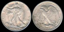 Us Coins - 1945 Walking Liberty Half Dollar AU