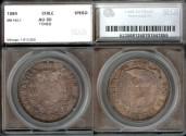 World Coins - 1884 Chile 1 Peso SEGS AU50