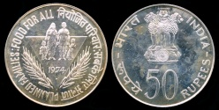 """World Coins - 1974 India 50 Rupee - FAO """"Food for All"""" Silver Proof"""