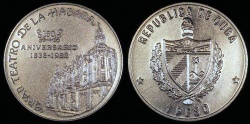 World Coins - 1988 Cuba 1 Peso - 150th Anniversary of Havana Grand Theater - BU (Only 2,000 Pieces Were Struck)