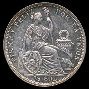 World Coins - 1916 FG Peru 1/2 Sol UNC