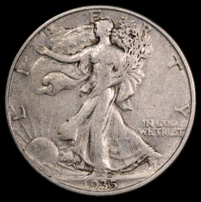 US Coins - 1935 D Walking Liberty Half Dollar XF