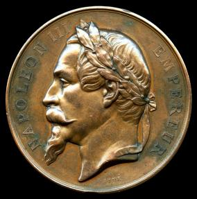 World Coins - 1866 France - Napoleon III - Strasbourg Agricultural Award Medal by Eugène André Oudiné