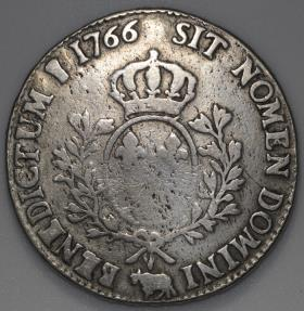 World Coins - 1766 France 1 Ecu - Louis XV - Pau Mint - F