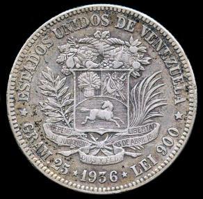 World Coins - 1936 Venezuela 5 Bolivares XF