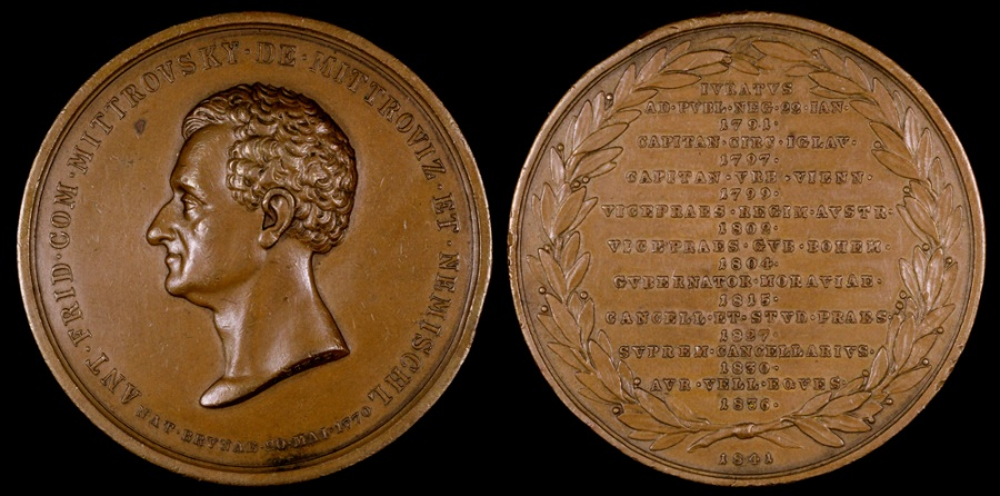 World Coins - 1841 Austria - Anton Friedrich von Mittrovsky (Bohemia) - Privy Councillor and Chamberlainand Governor of Moravia and Silesia by Josef Schon