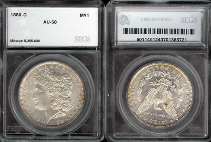 US Coins - 1880o Morgan Dollar SEGS AU58