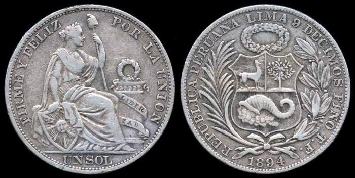 World Coins - 1894 TF Peru 1 Sol XF