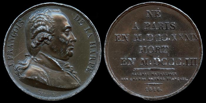 World Coins - 1818 France Jean-François de La Harpe (French playwright, writer and critic by Louis-Michel Petit