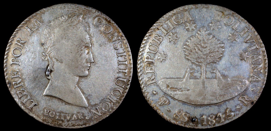 World Coins - 1845 PTS-R Bolivia 8 Soles AU