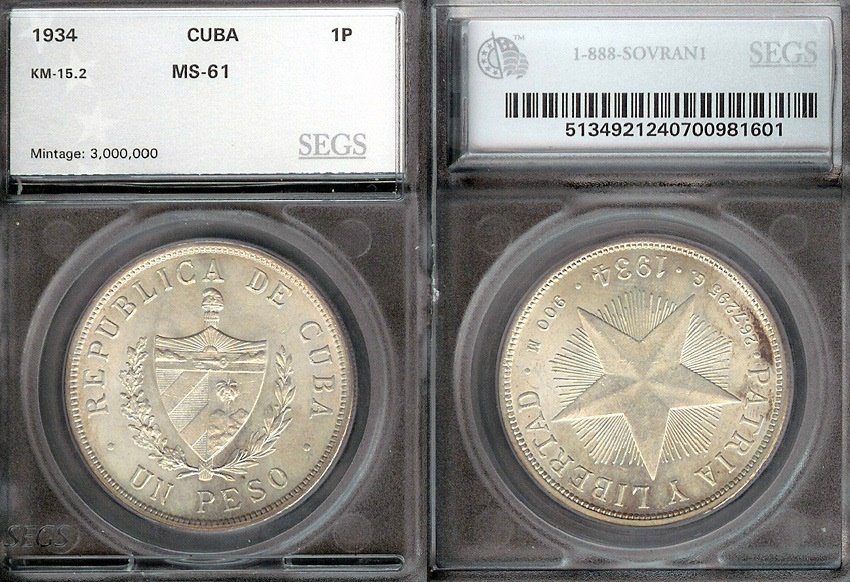 "World Coins - 1934 Cuba 1 Peso - ""Star Peso"" SEGS MS61"