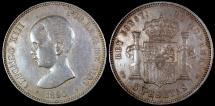 World Coins - 1890 (90) PG-M Spain 5 Peseta - Alfonso XIII - Baby Head - XF