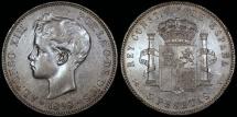 World Coins - 1898 (98) SG-V Spain 5 Pesetas - Alfonso XIII - AU