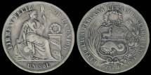 World Coins - 1864/54 YB Peru 1 Sol XF (Arabic 1)