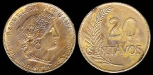 World Coins - 1921 Peru 20 Centavo BU